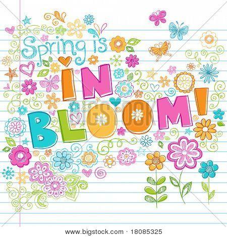 Primavera dibujado a mano está en floración Letras Sketchy Notebook Doodles Vector ilustración con flores un