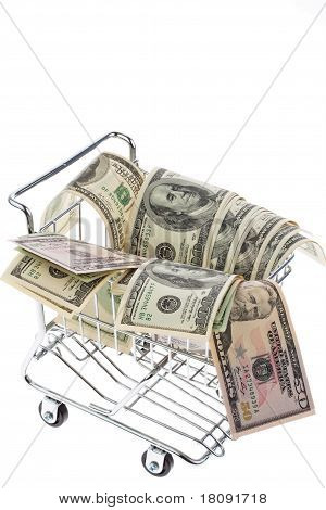 Dollar Currency notes in shopping trolley