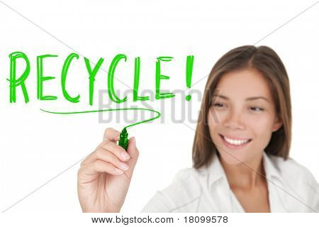 Recycling. Woman writing recycle with green marker isolated on white background. Asian Caucasian businesswoman.