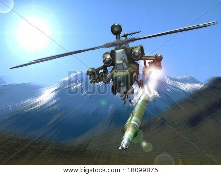 Combat helicopter in the mountains