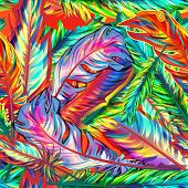 image of brazil carnival  - Bright seamless vector background with multicolor feathers - JPG