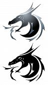 stock photo of dragon head  - Dragon tattoo symbol in black and silver - JPG