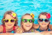 Happy Children In The Swimming Pool poster