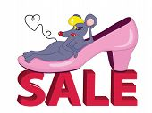 image of fancy mouse  - Sale creative design with a funny mouse in a pink shoe - JPG