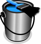 picture of paint pot  - a blue paint pot with a paint brush - JPG