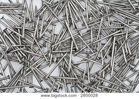Close-up Of A Pile Of Nails