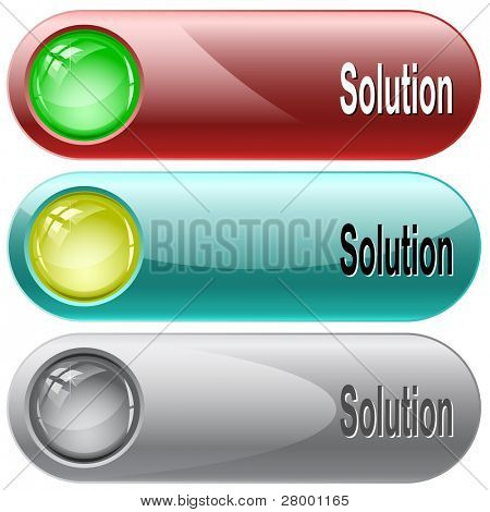 Solution. Internet buttons. Raster illustration. Vector version is in my portfolio.