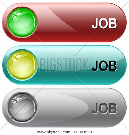 Job. Internet buttons. Raster illustration. Vector version is in my portfolio.