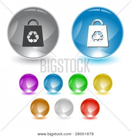 Bag with recycle symbol. Raster interface element. Vector version is in portfolio.