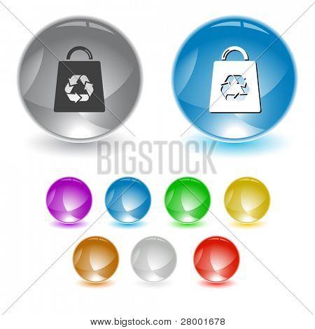 Bolso con símbolo de reciclaje. Elemento de la interfaz de trama. Versión de vector está en cartera.