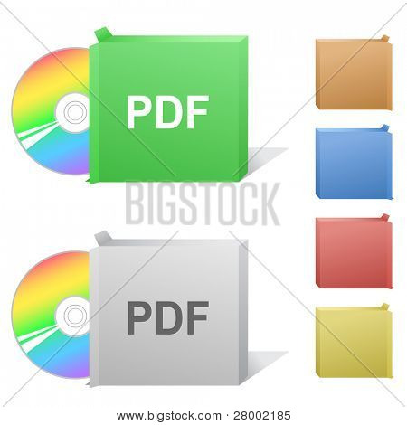 Pdf. Box with compact disc. Raster illustration. Vector version is in my portfolio.