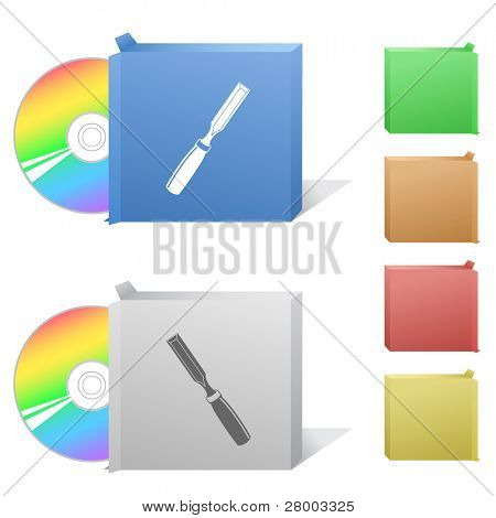 Chisel. Box with compact disc. Raster illustration. Vector version is in my portfolio.
