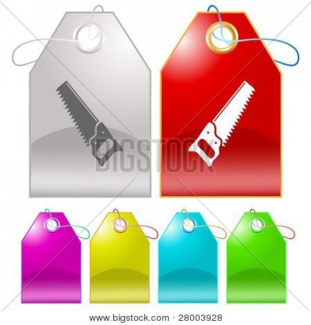 Hand saw. Raster tags. Vector version is in my portfolio.