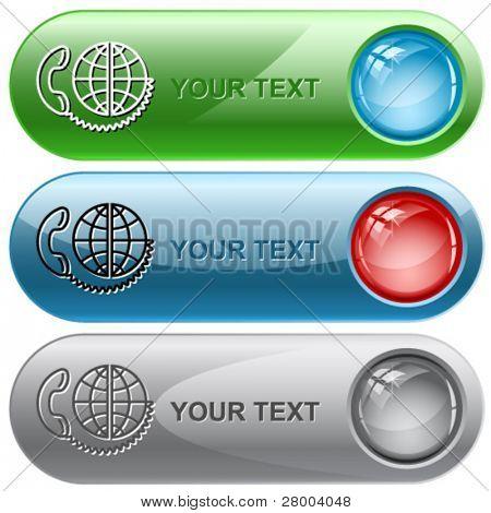 Global communication. Vector internet buttons.
