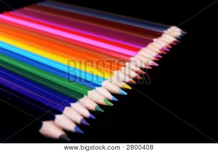 Colorful Pencils Isolated On Black