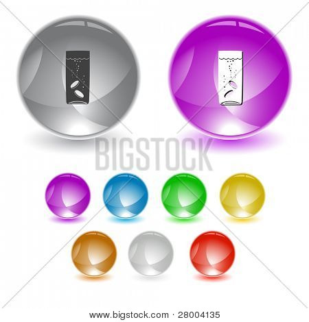 Glass with tablets. Raster interface element. Vector version is in portfolio.