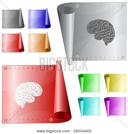 Brain. Metal surface. Raster illustration. Vector version is in my portfolio.