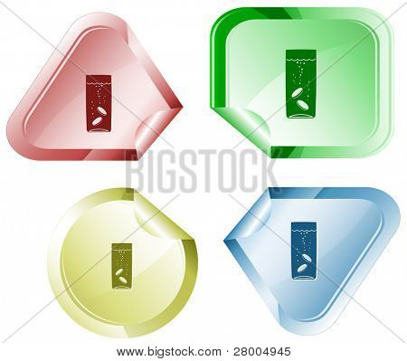 Glass with tablets. Stickers. Raster illustration. Vector version is in my portfolio.