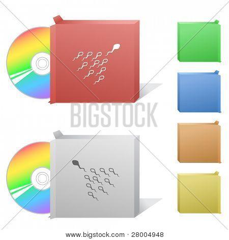 Espermatozoide. Caja con disco compacto. Ilustración de la trama. Versión de vector está en mi cartera.
