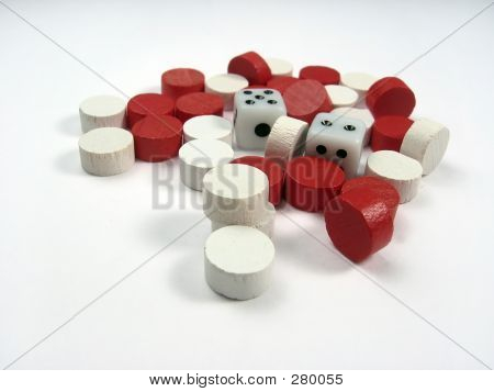 Dice With Reds And Whites