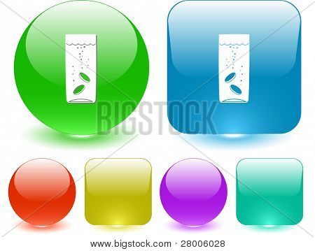 Glass with tablets. Interface element. Raster illustration.