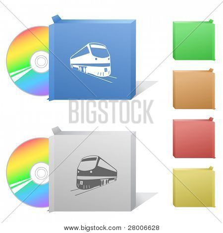 Train. Box with compact disc. Raster illustration. Vector version is in my portfolio.