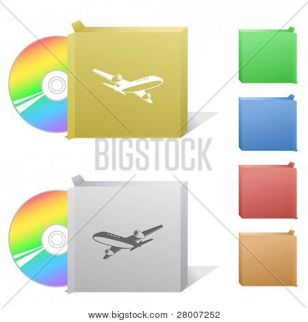 Airliner. Box with compact disc. Raster illustration. Vector version is in my portfolio.