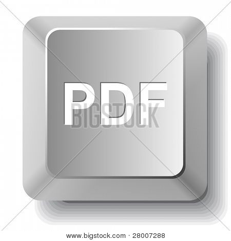Pdf. Computer key. Raster illustration.