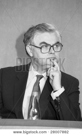 LONDON-MARCH 16: Norman Lamont, Chancellor of the Exchequer and Conservative party M.P. for Kingston, at a press conference on March 16, 1992 in London.