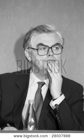 LONDON-MARCH 16: Norman Lamont, Chancellor of the Exchequer and Conservative M.P. for Kingston, at a press conference on March 16, 1992 in London.