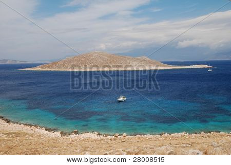 Looking towards Nissos island from Emborio on the Greek island of Halki.