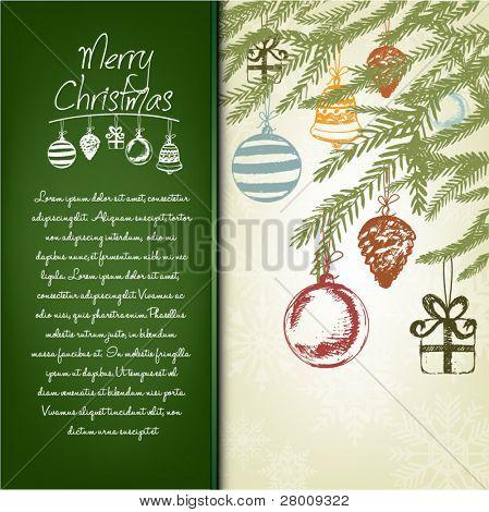 Colorful Handdrawn Retro Christmas Postcard