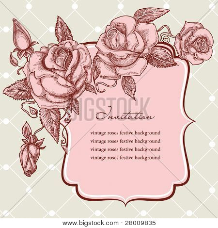 Festive events panel, vintage roses ornaments vector