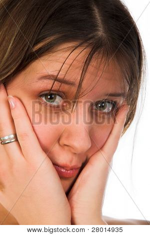 young upset woman isolated on white background