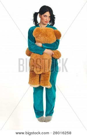 Sad Woman Holding Big Teddy Bear