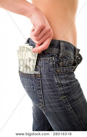 Girl drawing money from her hip pocket