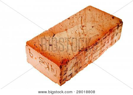 red brick isolated on the white background
