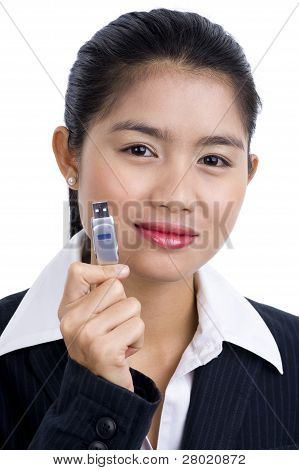 Business Woman With Usb Stick