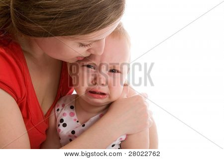 upset baby isolated on the white background