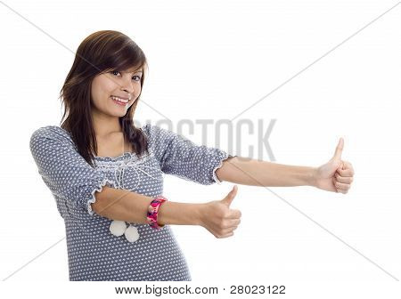 Woman With Two Thumbs Up