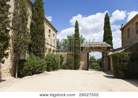 Silent rural hotel in fine spring day about ancient historical city Toledo in Spain