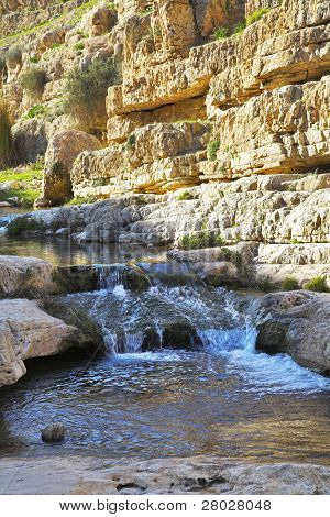 Shallow stream in droughty mountains of Israel