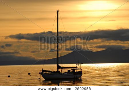 Yacht And Sunrise In Port Of  Ushuaia,  Argentina, South America