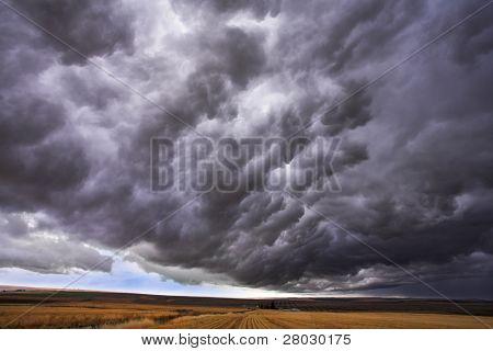 La nube tormentosa cierra el cielo sobre la llanura sin límites en el estado de Montana. Más magníficos cuadros