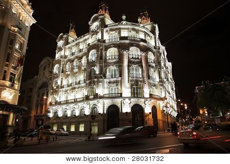 Night Madrid. Effectively shined building in city center