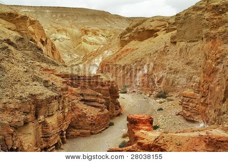 A Red canyon in mountains about Eilat in Israel