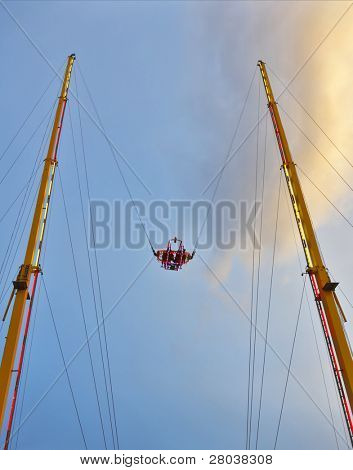 Popular entertainment in park: the  bungee