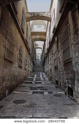 The great city of Jerusalem. Narrow and empty street in Christian quarter of the Old city