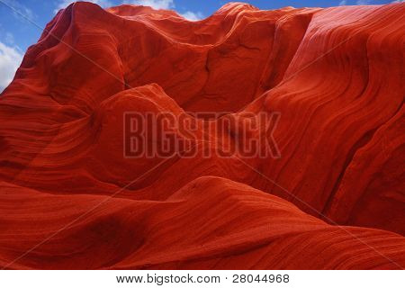 Fiery color in the stone. The famous Antelope Canyon in the Navajo Indian Reservation. U.S