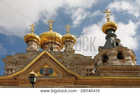Church of Mary Magdalene in Jerusalem. Golden domes and white stone cladding